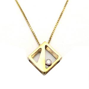 14k yellow gold geometric<span>0.12ct diamond</span>