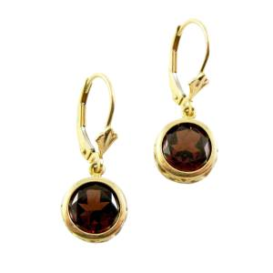 14k yellow gold backset garnet dangles<span></span>