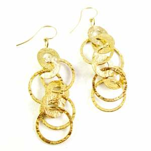14k yellow gold hammered dangles<span></span>