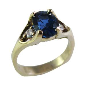 14k white gold oval sapphire<span>$2945 - 1.67ct sapphire, 0.16ct tw diamonds</span>