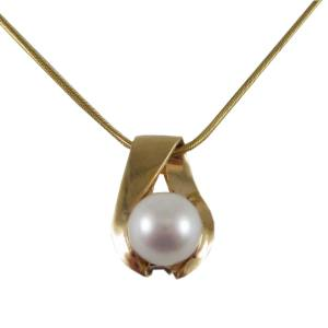 14k yellow gold with pearl<span>10mm pearl</span>